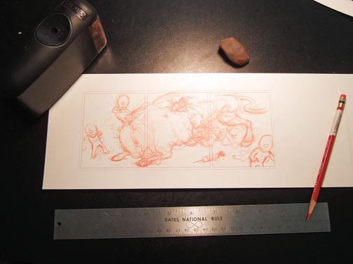 A photograph of a comic strip drawn by Nathan Olsen from Haiku Comics before it is inked.