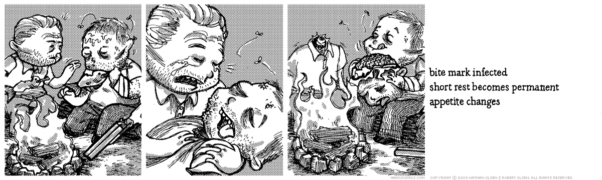 A webcomic about a pair of friends enjoying a campfire. Haiku: bite mark infected, short rest becomes permanent, appetite changes.