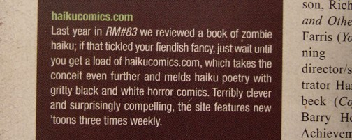 Haiku Comics Mentioned in Rue Morgue Magazine