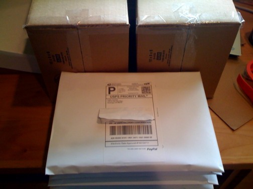 Photograph of packaged Haiku Comics merchandise ready for shipment.