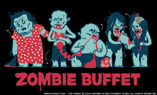 "Haiku Comics ""Zombie Buffet"" t-shirt design by Nathan Olsen and Robert Olsen."