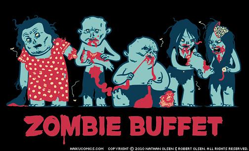 """Haiku Comics """"Zombie Buffet"""" t-shirt design by Nathan Olsen and Robert Olsen."""