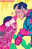 Haiku Comics iPhone Wallpaper illustration of a superhero incinerating a super villian by Nathan Olsen.