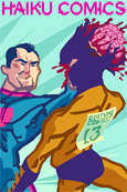 Haiku Comics iPhone Wallpaper illustration of a superhero punching the brains out of a super villian by Nathan Olsen.