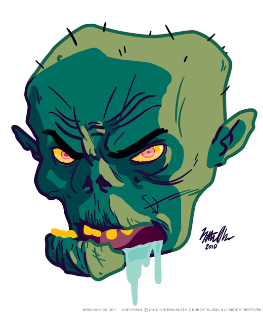 An sketch by Nathan Olsen of the Haiku Comics character, Zombie Head.